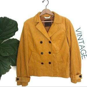 Vintage 90's Mustard Yellow Corduroy Pea Coat!